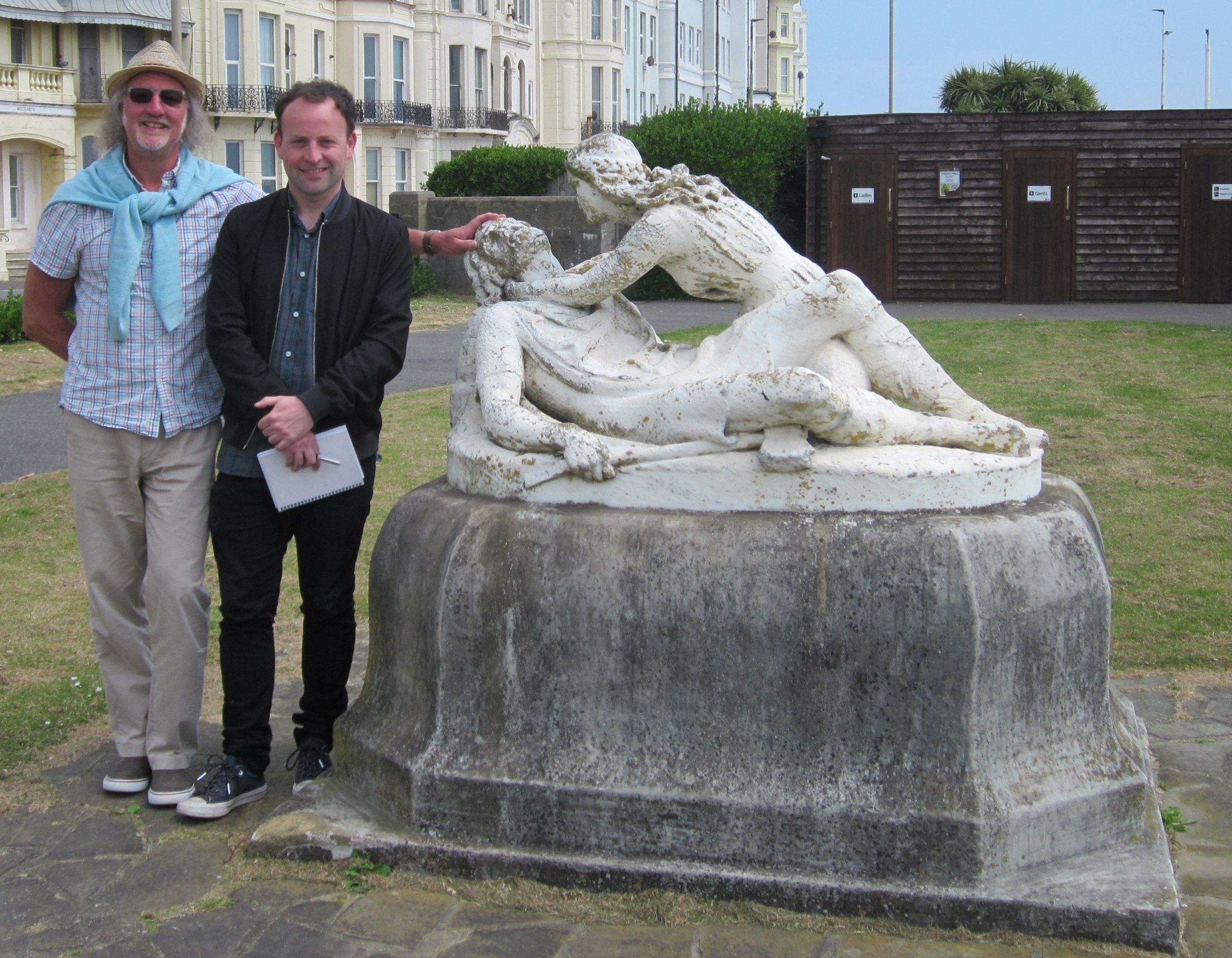 Jarman/Beaney at the statue