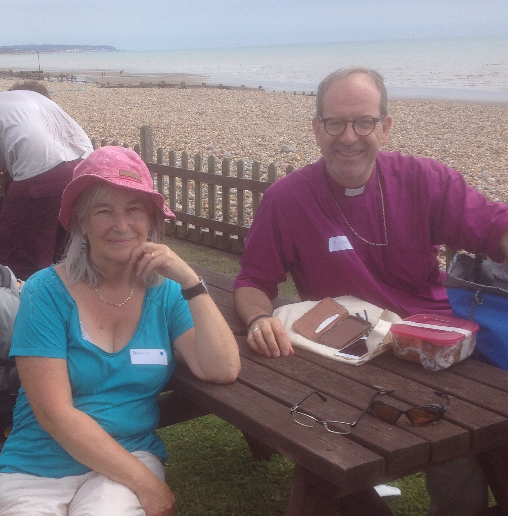 Felicity Laurence and Bishop Richard Jackson on lunch break, RefugeeTales Walk